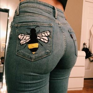 Hand embroidered Levi's high rise skinny jeans